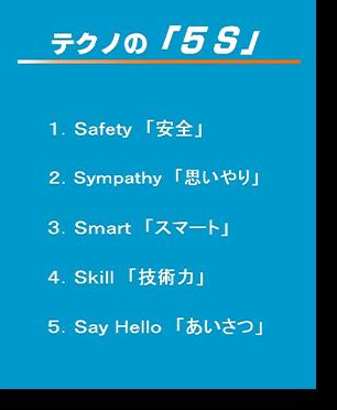 テクノの「5S」1.Safety「安全」 2.Sympathy「思いやり」 3.Smart「スマート」 4.Skill「技術力」 5.Say Hello「あいさつ」