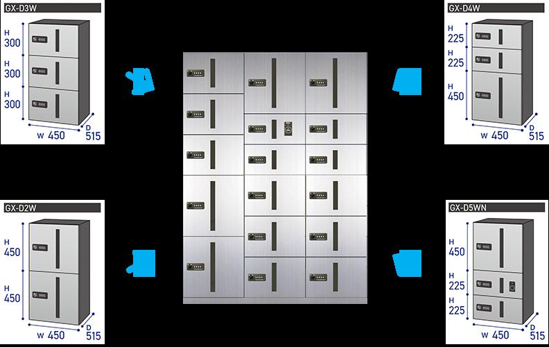 高さ×幅×奥行で必要なものを選んで頂きます ※同じシリーズで組む必要があります ※上段タイプ下段タイプと制限があるシリーズもあります